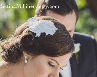 Joanne - Custom made boho chic French lace wedding headpiece. Ivory white. Made by Bettina Millinery in Australia. Free worldwide shipping.
