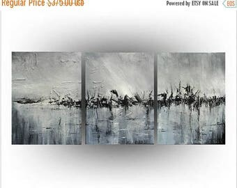 ON SALE Triptych Abstract Original painting Acrylic Palette knife Black and White  - The land Time Forgot - 24 x 54 - by Skye Taylor