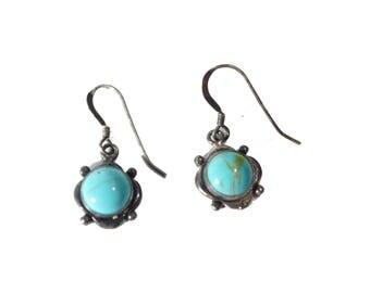 Vintage Sterling Silver Southwestern Turquoise Earrings #2427
