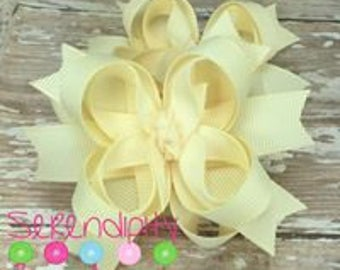 Ivory Boutique Hair Bows, Creme Hair Bows, Boutique Hair Bows, Mini Hair Bows, Girl's Hair Bows, Piggy Tail Bows, Bows For Girls