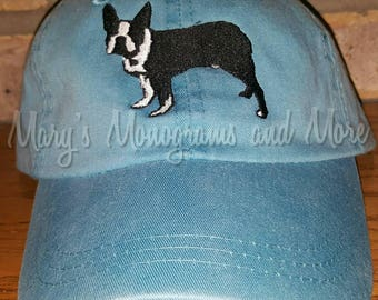 FREE SHIPPING - Boston Terrier Dog Hat - Dog Baseball Hat - Adult Dog Hat - Puppy Hat - Embroidered Boston Terrier Cap -Personalized Hat