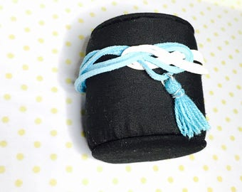 Faux leather tassel Bracelet, summer Fashion, turquoise & white, Hand Made in The USA, Item No. L060