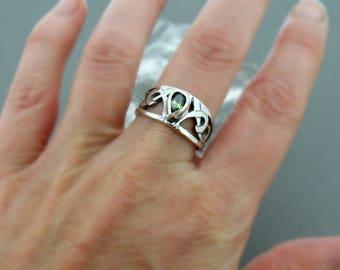 Scroll Band Pear Shaped Gemstone Ring