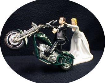 Motorcycle Wedding Cake Topper W/ Custom GREEN Chopper Harley Davidson groom top Cool Bike