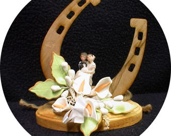 """Country Western """"Lucky Horse shoe"""" Wedding Cake topper or glasses or Knife set or Guest book Barn Cowboy Hat hay Calla lily groom top"""