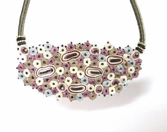 Statement necklace pink, fiber necklace beaded, bib necklace Cloud Design Collection, gift for woman - Textile jewelry OOAK ready to ship