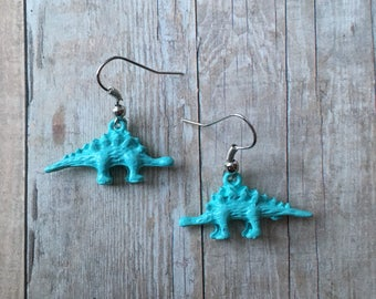 Blue dino earrings