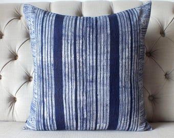 Vintage Batik Hmong Pillow Cover, Indigo Cotton Cushion Cover, Tribal Throw Pillow Case, Hill Tribe Ethnic Pillow Case