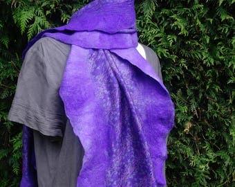 nuno felted silk wrap silk shawl mauve silk scarf mauve nuno felted throw felted silk scarf patterned mauve wrap wool silk scarf sari silk