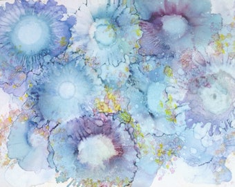 Abstract Art Print, Boho Artwork, Giclee Floral Print, Contemporary Art, Alcohol Ink Wall Art, Expressionist Art, Hippy Art, Blue Painting