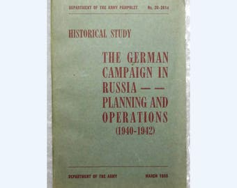 German Campaign in Russia 1940-1942, World War II, Department of the Army Pamphlet 20-261a, Maps Charts, FREE SHIPPING