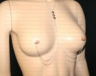 Nipples jewelry with chains, Nipples jewelry , Nipple piercing Jewelry, (m16)