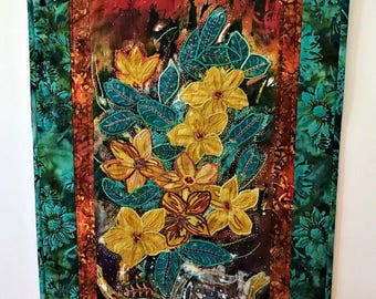 Modern Batik Wall Hanging/ Impressionistic Flowers/ Quilted Embroidered/ Hand Painted Batik/ Signed/ Deep Rich colors/ Striking Design