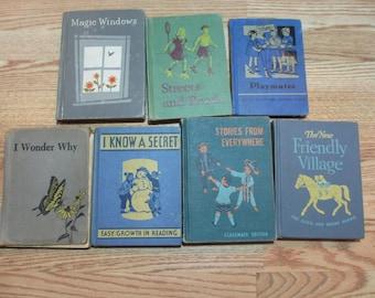 7 Vintage Reader & Science Children's School Books, 1930s, 1940s and 1960s, Platmates, Friendly Village, Altered Art