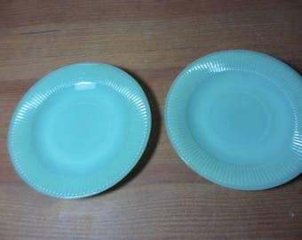 2 Jadite Fire King Jane Ray Saucers, Green Glass, Rayed Bottom