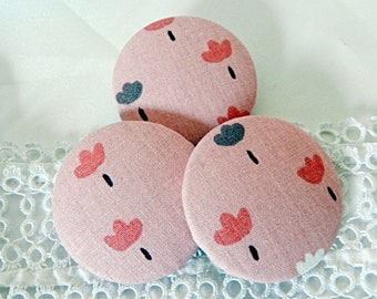 Pink floral fabric button, 40 mm in diameter