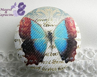 fabric button, butterfly, 1.57 in / 40 mm