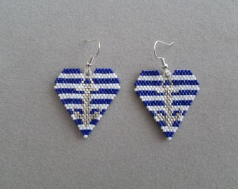 Nautical Heart Beaded Earrings