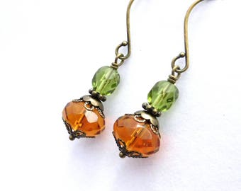 Glass bead earrings - Czech fire-polished Fall colors, antiqued brass layered bead caps, topaz olive green faceted beads. Fall jewelry
