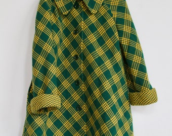Vintage Hunter Green and Yellow Swing Coat