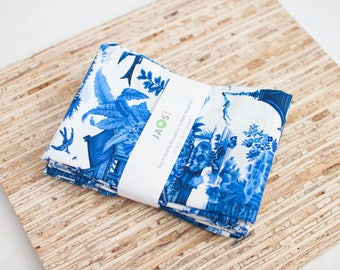 Large Cloth Napkins - Set of 4 - (N5303) - Navy Blue Toile Scenic Modern Reusable Fabric Napkins