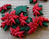 """12 Red and Green Pointsettia Flat Back Buttons. Size 13/16"""""""
