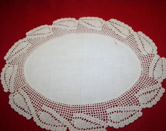 Vintage Fabric & Crocheted Lace Doily- 13 inches