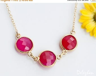 40 OFF - Fuchsia Pink Necklace - Hot Pink Necklace - Bezel Gemstone Connecters - Gold Necklace - Wedding Jewelry