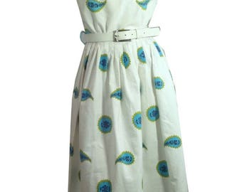 1950s Bold Turquoise and Paisley Print 2pc Dress Set