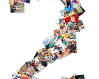 Personalized Web Number Photo Collage | Facebook Profile Image | Your Images in a number | Digital Download | Gift | Age Birthday Sign