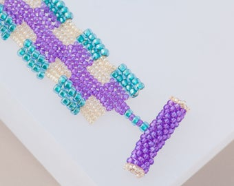 Beaded Bracelet - Woven, Hand stitched, Seed Beads, Purple, Aqua, Gold, Soft Flexible