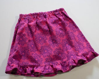 Girls pink Corduroy Skirt Flower Skirt Fall Skirt Ruffled Skirt Knee Length Skirt
