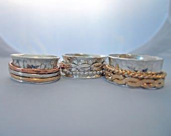 Fidget Spinner Ring Sterling Silver