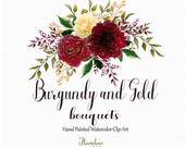 Burgundy and Gold watercolor clipart,burgundy watercolor flower clipart,marsala and gold bouquet clipart, gold rose clipart,marsala clipart