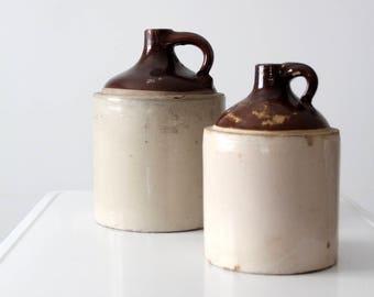 antique stoneware jugs, albany slip crock jugs