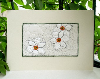 White Narcissus botanical embroidery art mounted on acid free Fabriano off white paper