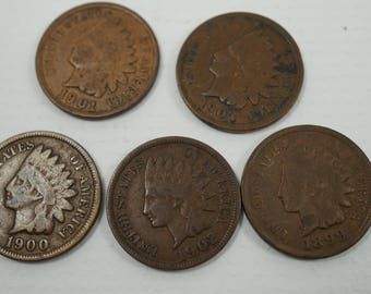 5 Indian Head Penny's 1901, 1903, 1900, 1902, 1899.