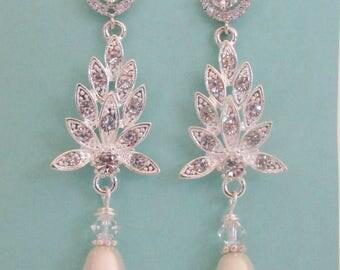 Chandelier Bridal Earrings, Pearl Earrings, Cubic Zirconia Bridal Earrings, Chandelier Earrings, Long Wedding Earrings, Stud, Post, Flower