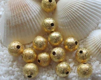 Brass Stardust Beads - Gold Plated - 8mm - 25, 50 or 100 pcs