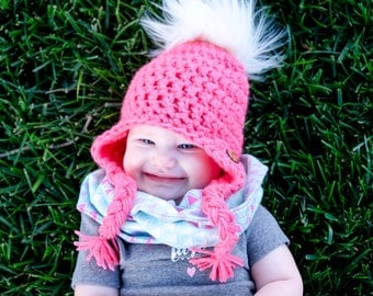 Coral Pom Pom Hat, Fur Pom Pom Hat, Baby Girl Fur Pom Pom Hat, Crochet Hat, Crocheted Items