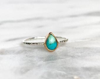 Turquoise ring, thin ring band, minimalist ring, arizona turquoise, sterling silver ring, turquoise jewelry, decemeber birthstone,