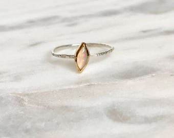 Marquise opal ring, ethiopian opal, simple ring, thin ring, stacker ring, minimalist ring jewelry, boho ring, opal ring, silver stacker