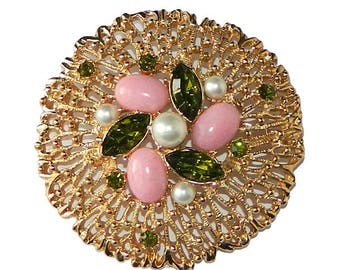 Large Vintage Rhinestone Brooch by Sarah Coventry Mint In Box