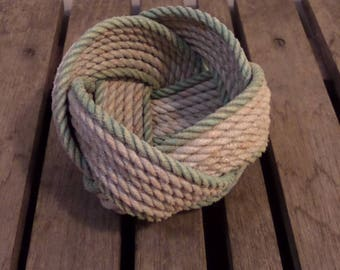 """Rope Basket  5""""  x 3"""" Nautical Decor Rope Bowl Light Silver with faded Green Accent"""