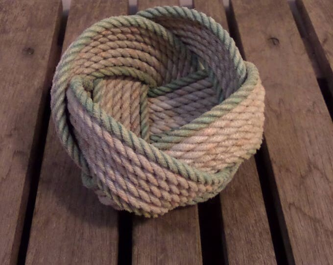 "Rope Basket  5""  x 3"" Nautical Decor Rope Bowl Light Silver with faded Green Accent"