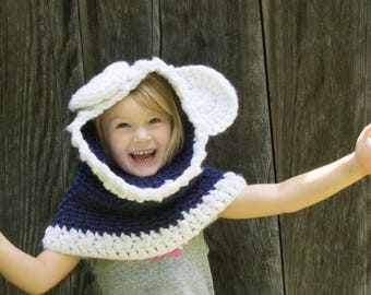 Teddy Bear Cowl, Blue and White, Ready To Ship, Child Crochet Cowl, Woodland Creatures, Winter Wear, Back To School