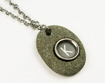 Typewriter Key Pendant - Rock Necklace on Stainless Steel Chain - Unique Initial Letter K Monogram Only - Writer or Author Jewelry