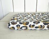Cheetah Print Sheet 80s Stevens Utica Vintage Twin Full Size Sheet or Sewing Fabric White Black Brown Camel Spots