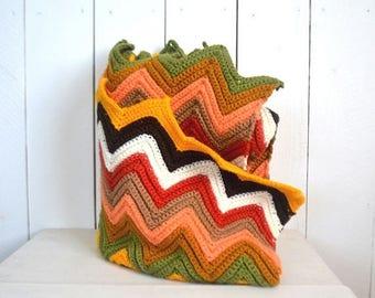 FIRE SALE 25% Off Retro Crochet Throw Blanket - 1960s Colorful Chevron Stripe Blanket - Vintage Zig Zag Throw Rug - 54 x 44 Inches