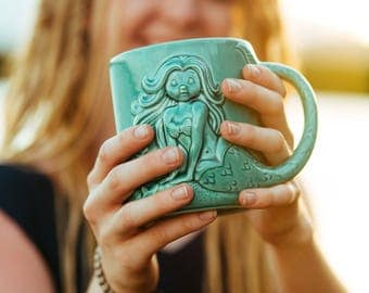 Mermaid Coffee Mug, Gift for her, Mermaid decor, Mermaid Mug, coffee mug, coffee cup, Mermaid Tail, Handmade in my Charleston SC studio.